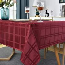 "Rectangle Tablecloth Checkered Style Polyester Table Cloth Spillproof Wrinkle Resistant Shrinkproof Heavy Weight Table Cover Kitchen Dinning Tabletop(Rectangle/Oblong, 60"" x 84"" (6-8 Seats),Red)"