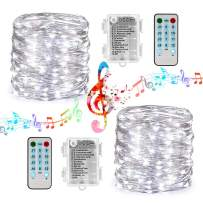 Toodour Battery String Lights, 2 Packs 33ft 100 LED Sound Activated Fairy Lights, with Remote, Timer, Waterproof Battery Operated String Lights for Party, Home, Holiday Decorations (White)