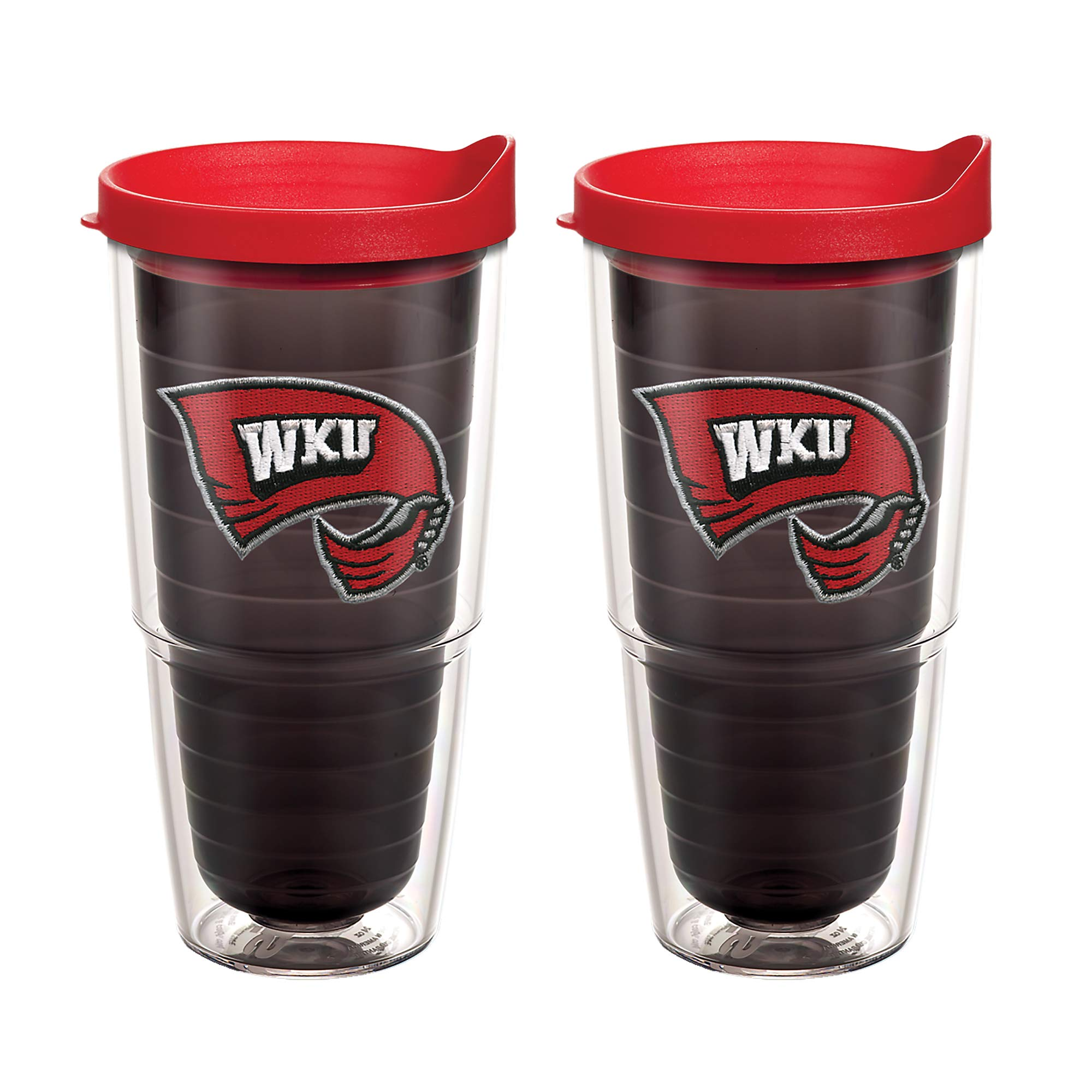 Tervis 1077996 Western Kentucky Hilltoppers Logo Tumbler with Emblem and Red Lid 2 Pack 24oz, Quartz