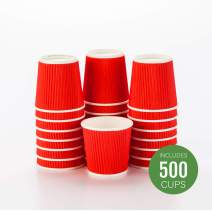 500-CT Disposable Red 4-OZ Hot Beverage Cups with Ripple Wall Design: No Need for Sleeves - Perfect for Cafes - Eco-Friendly Recyclable Paper - Insulated - Wholesale Takeout Coffee Cup