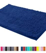 LuxUrux Bath Mat-Extra-Soft Plush Bath Shower Bathroom Rug,1'' Chenille Microfiber Material, Super Absorbent Shaggy Bath Rug. Machine Wash & Dry (24 x 39 Inch, Blue)