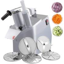 VBENLEM 110V Commercial Food Processor 2 Feeding Holes, 550W Electric Vegetable Slicer 1600 RPM, Stainless Steel Vegetable Processor Detachable 6-blades, 3mm/4mm/7mm Shred, 2mm/4mm Slice