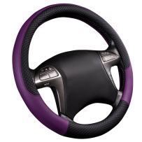 CAR PASS Rhombus Leather Universal Steering Wheel Cover, Fit for Suvs,Trucks,Cars,Sedans,Vans(Black and Purple)
