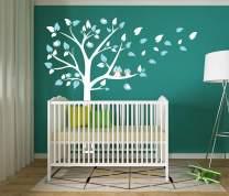 LUCKKYY Cute Owls with Birds Stand on The Tree Wall Decals Tree Wall Decals Tree Wall Sticker for Kid Baby Nursery Room (87x78) (Blue)
