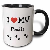 3dRose I Love My-Poodle Two Tone Mug, 11 oz, Black