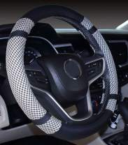 Microfiber Leather and Viscose Universal Breathable Anti-Slip Odorless Steering Wheel Cover (14''-14.25'', Gray)
