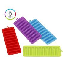 (6 COUNT) KOLORAE 10 BAR ICE CUBE TRAY-COLORFUL ICE TRAY WITH EASY PUSH AND POP OUT MATERIAL, IDEAL FOR SPORTS DRINKS AND WATER BOTTLES-1 OF EACH COLOR PICTURED, PLUS AN ADDITONAL BLUE AND GREEN TRAY!