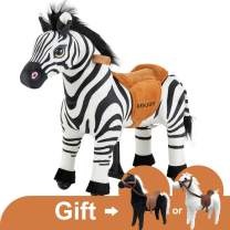 Uenjoy Kids Ride on Zebra Riding Horse Toy, Pony Rider Mechanical Cycle Walking Action Plush Animal for Children 3 to 5 Years, No Battery, No Electricity, Weight Capacity 132LBS, Small Size