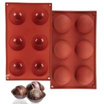Gigilli Silicone Chocolate Mold 6 Holes, Semi Sphere Round Silicone Mold for Making Hot Chocolate Bomb, Cake, Jelly, Dome Mousse (Red L, 2)