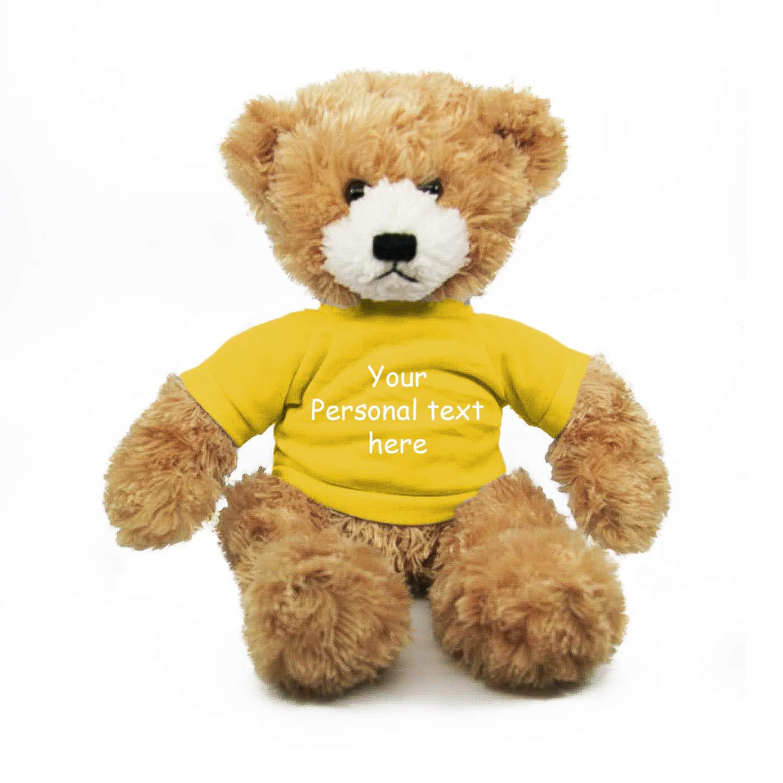 Plushland Beige Brandon Teddy Bear 12 Inch, Stuffed Animal Personalized Gift - Custom Text on Shirt- Great Present for Mothers Day, Valentine Day, Graduation Day, Birthday (Yellow Shirt)