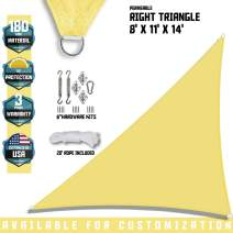 "TANG Sunshades Depot 8'x11'x13.6' Canary Yellow Sun Shade Sail 180 GSM with 6"" in Hardware Kit Right Triangle UV Block Outdoor Canopy Patio Garden Yard Pergola Park School Custom"