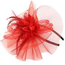 vimans Women's Bowknot Feather Detachable Cocktail Party Veil Fascinator Hair Clip Hat