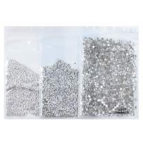 4320pcs Nail Rhinestones Clear Crystals Round Flatback Glass Gems Stones Nail Decoration Art for Nails Crafts Shoes Clothes Eye Makeup (Clear Crystal 1.5mm, 2mm, 3mm)
