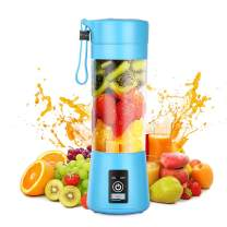 Geohee Personal Blender, Smoothies Mini Jucier Cup USB Rechargeable and Personal Size Blender Shakes,380ml,Fruit Juice,Mixer - with Six Blades (Blue)