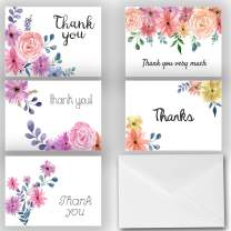 Small Beautiful Floral Thank You Note Cards 25 Pack - Envelopes Included - Great for Bridal Showers, Weddings, Graduations, Baby Showers, and More! Made in the U.S.A. (Beautiful Assortment)
