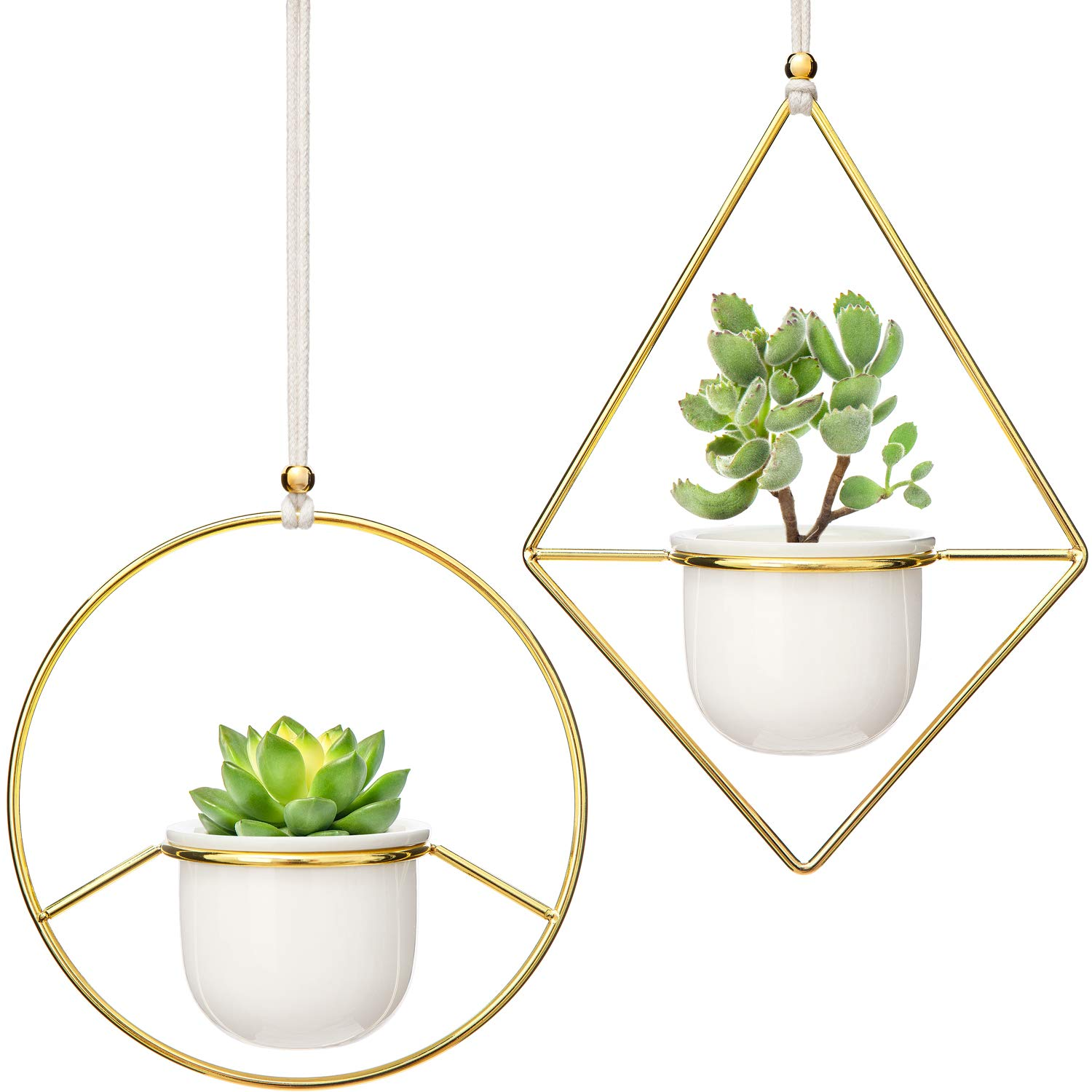 """Mkono 2 Pcs Mini Hanging Planter Vase Set, 3.5"""" White Ceramic Plant Pot with Gold Metal Geometric Plant Hanger Modern Window Ceiling Planters for Small Succulent Cactus Herb Air Plant (Pots Included)"""