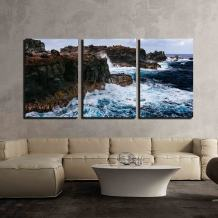 "wall26 - 3 Piece Canvas Wall Art - Sea Waves Lapping on The Seashore - Modern Home Art Stretched and Framed Ready to Hang - 24""x36""x3 Panels"