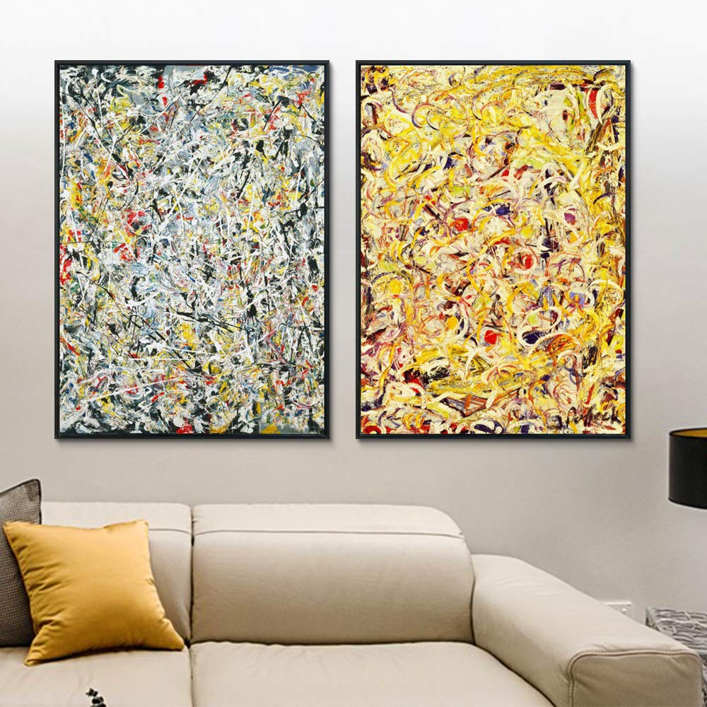 INVIN ART Combo Painting 2 Pieces by Jackson Pollock Framed Canvas Giclee Print Art Abstract Wall Art Series #3(Black Slim Frame,24x32Each Piece)
