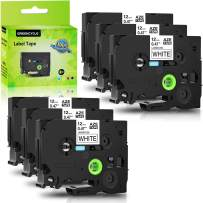 GREENCYCLE 6 Pack Replacement TZe Tape 12mm 0.47 Inch 1/2'' Black on White Label Tape Laminated TZe-231 TZ231 White Tapes Compatible with Brother P-Touch Cube PTD210 PTD600 PTH110 Label Maker