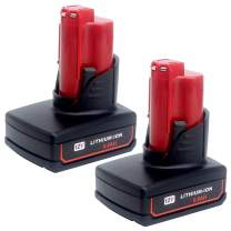 Elefly 2 Pack M12 6.0Ah 12V Lithium Battery Replacement for Milwaukee M12 Battery 48-11-2460 48-11-2411 48-11-2401 48-11-2402 48-11-2440, Compatible with Milwaukee M12 Cordless Tools