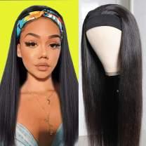 Mariska 10A Headband Wigs Straight Human Hair Wigs 100% Brazilian Virgin Hair None Lace Front Wigs Human Hair Machine Made Wigs for Black Women 150% Density (20 Inch, Natural Color)