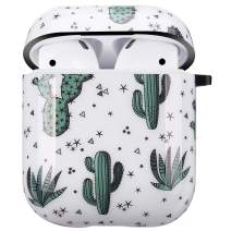 NASOUSA for Airpods Case with Keychain,TPU Gel Printing Designs Shockproof Protective Premium Cover Skin with Anti-Lost Carabiner for AirPods 1/2 Charging Case(Cactus)