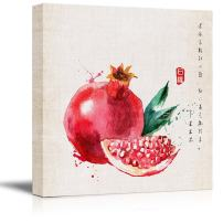 wall26 - Square Canvas Wall Art - Watercolor Style Chinese Painting of a Red Pomegranate and Seeds - Giclee Print Gallery Wrap Modern Home Decor Ready to Hang - 12x12 inches
