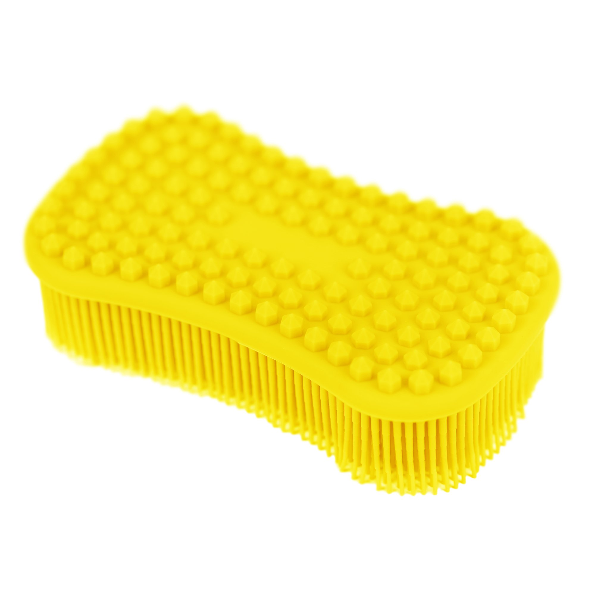 ELFRhino Bath Sponge 2 in 1 Silicone Shower Brush Natural Bristle Massager Brush Gentle Scrub Skin Exfoliation for Face and Body Massage Nubs Improve Cellulite Yellow