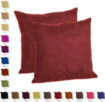 "MoonRest - Set of 2 Microfiber Decorative Pillow, Fully Assembled with Hidden Zipper Filled with Synthetic Down Pillow Inserts (20""x20"", Burgundy)"