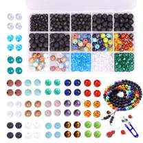 Bracelet Making Kit Beads Bulk - 900PCS Color Lava Rock Natural Amazonite Gemstone Bead Chakra Bead Spacer Glass Faceted Bead with 2 Rolls Crystal String Bracelet Charm for DIY Jewelry Making Supplies