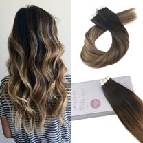 Moresoo 22 Inch Glam Seamless Skin Weft Hair Extensions Tape on Human Hair Color #1B Off Black to #6 Medium Brown Mixed with #18 Ash Blonde Skin Weft Hair Extensions Seamless Remy Hair 20PCS 50G