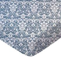 SheetWorld Fitted Sheet (Fits BabyBjorn Travel Crib Light) - Grey Damask - Made In USA