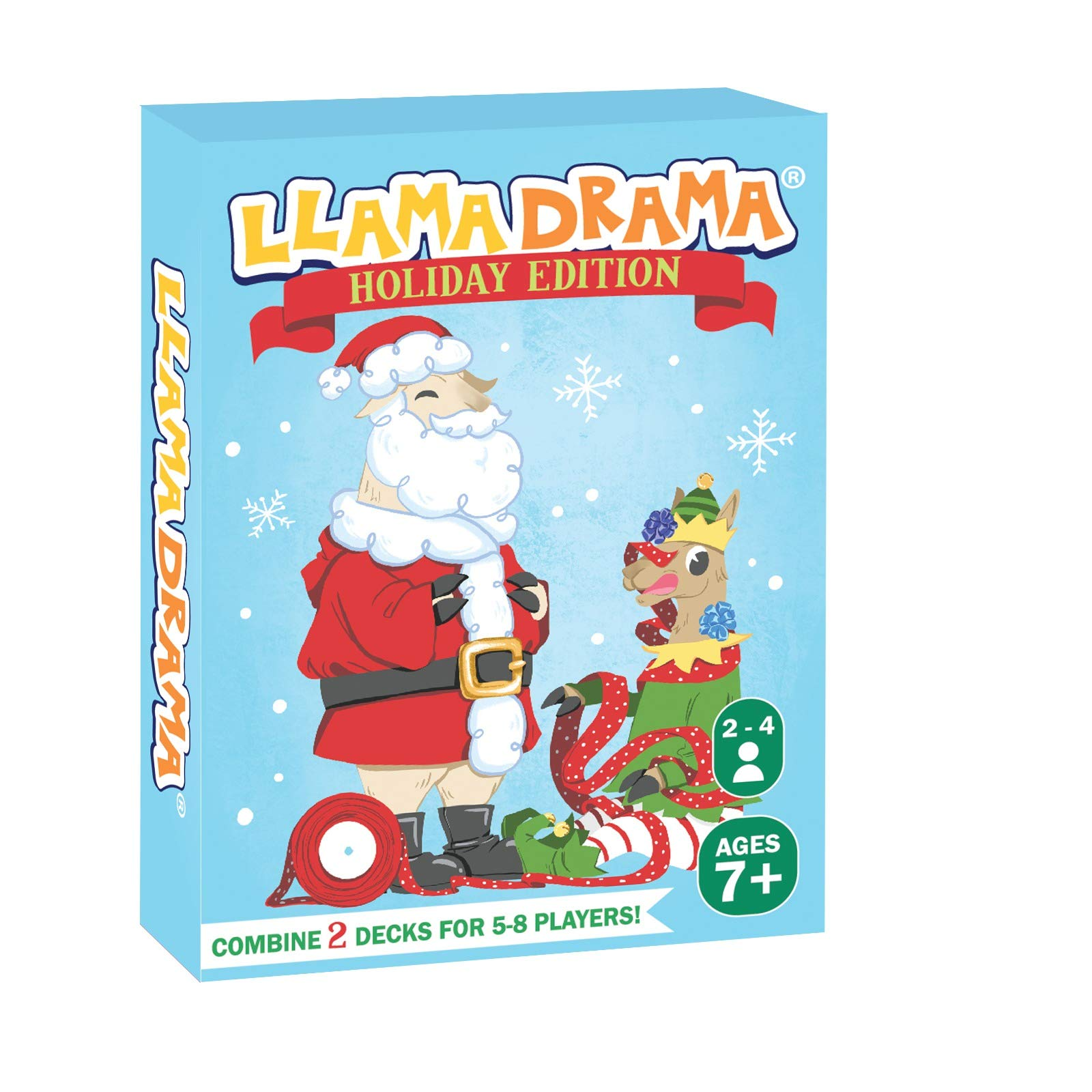 Llama Drama Card Game - Fun and Competitive Card Games - Easy to Learn for Kids and Adults (2 Pack Holiday Edition)