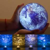 Night Light Projector for Kids, Universe Projector Planet Lamps, Moon Solar System Ocean Earth Rotating Ceiling Night Light Birthday Gifts for Baby/Toddler Bedroom - 4 Sets of Films