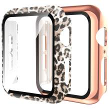 Wearlizer 2 Pack Cases Compatible with Apple Watch Case 44mm Series 6 SE 5 4 with Screen Protector, Ultra-Thin Full Cover Leopard Protective Bumper Case for iWatch Women Girls (Leopard+Gold, 44mm)