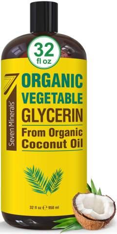 NEW Organic Vegetable Glycerine 32 fl oz - No Palm Oil, Made w/Organic Coconut Oil - Pharmaceutical Grade Glycerine Liquid for DIYs - Perfect as Hair, Nails and Skin Moisturizer - Non-GMO & Vegan