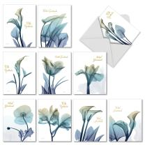10 Boxed 'Blooming Expressions' Thank You Sympathy Note Cards w/Envelopes - Assorted Blue Flower Greeting Cards - Gratitude Floral Stationery Notecards 4 x 5.12 inch AM6221STG-B1x10