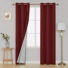 Deconovo Red Thermal Insulated Curtains with Silver Coating Blackout Panels for Living Room, 42x95 inch, Maroon