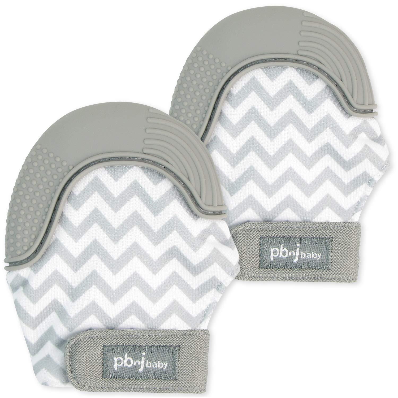 PBnJ baby Silicone Infant Teething Mitten Teether Glove Mitt Toy Travel Bag-Gray Chevron 2pk