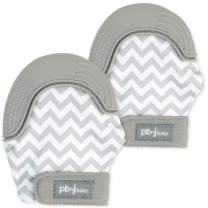 PBnJ baby Silicone Infant Teething Mitten Teether Glove Mitt Toy Travel Bag-Gray Chevron 2pk