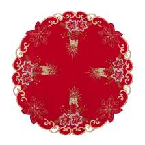 Grelucgo Embroidered Christmas Holiday Round 16-Inch Doilies Place-mats Set of 4, Dining Table Centerpieces