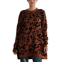 Leopard Oversized Sweaters for Women - Long Sleeve Crew Neck Pullover Top Knit Ugly Sweater