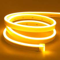 Lamomo LED Neon Flex, 16.4ft/5m Yellow Neon Light Strip, 12V Flexible Waterproof Neon LED Strip, Silicone LED Neon Rope Light for Kitchen Bedroom Indoor Outdoor Decoration (No Power Adapter)
