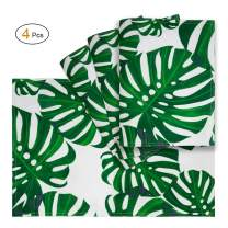 VCVCOO Anti-Stain Reversible Cloth Placemats for Dining Table, 13 x19 inch Place Mats Set of 4 Pieces,Green Palm Leaves Fabric Table Mats Waterproof Spillproof Washable