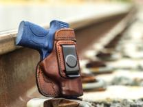 OutBags USA LS2SHIELDX Full Grain Heavy Leather IWB Conceal Carry Gun Holster for Smith & Wesson M&P SHIELD 9mm / 40 S&W with Crimson Trace Red Laser. Handcrafted in USA.