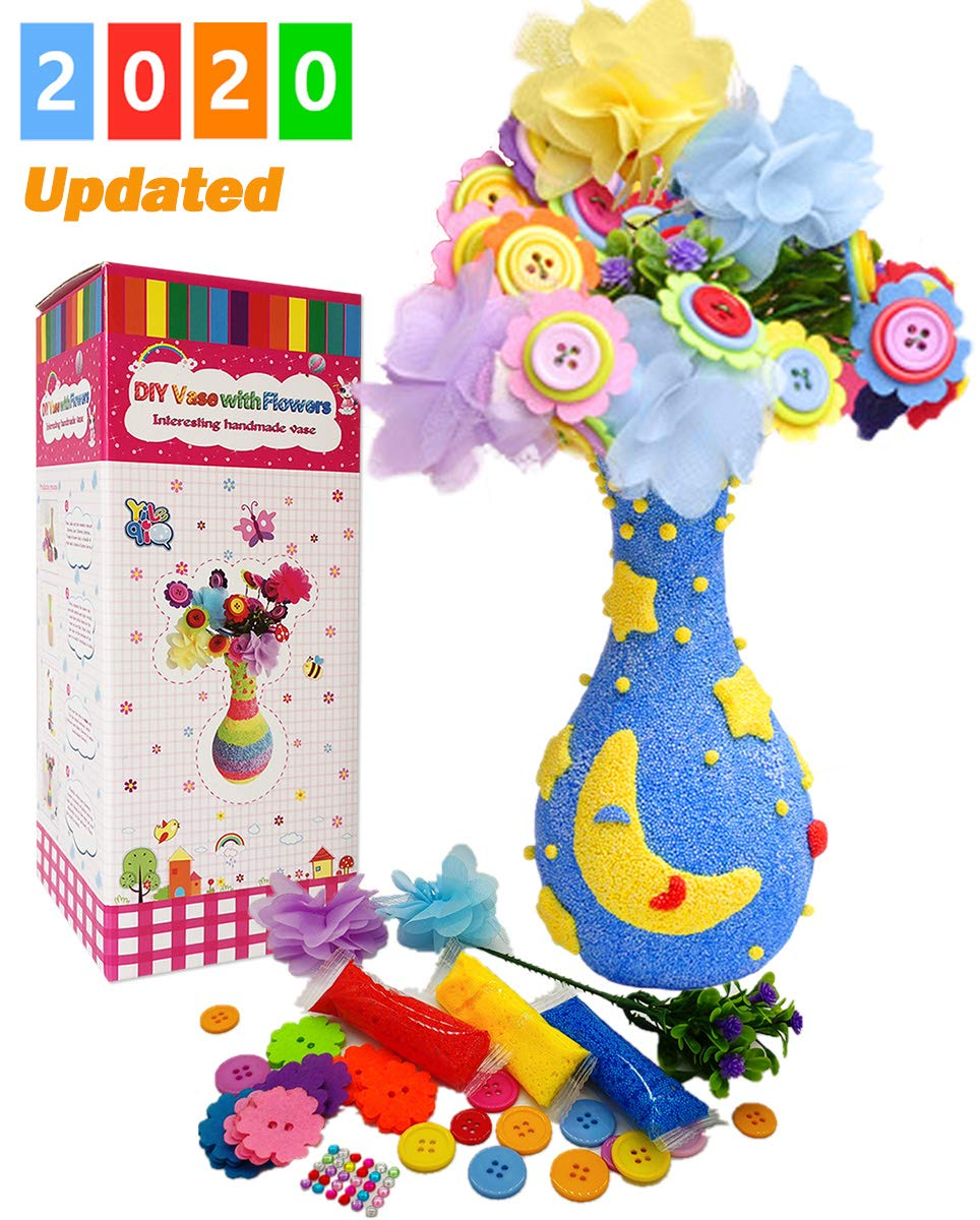 Yileqi Vase and Flower Craft Kit for Kids, Button Flower Arts and Crafts for Kid, Fun DIY Craft Projects for Girls Ages 5 6 7 8 9 10 Years Old Party Art Supplies String Creativity Toy (Moon and Star)