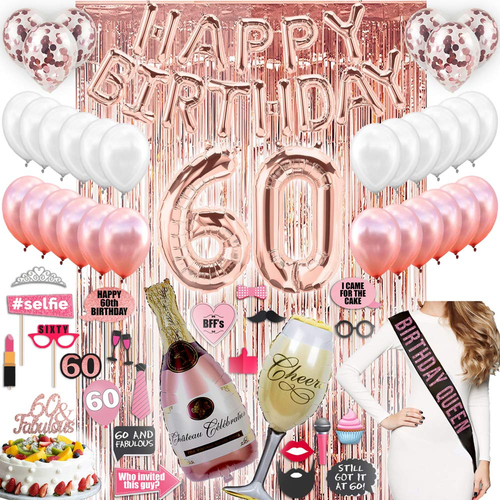 60th BIRTHDAY DECORATIONS With Photo Props 60 Birthday Party Supplies| 60 Cake Topper Rose Gold| Happy Bday Banner| Rose Gold Confetti Balloons for her| Silver Curtain Backdrop Props Photos 60th Bday