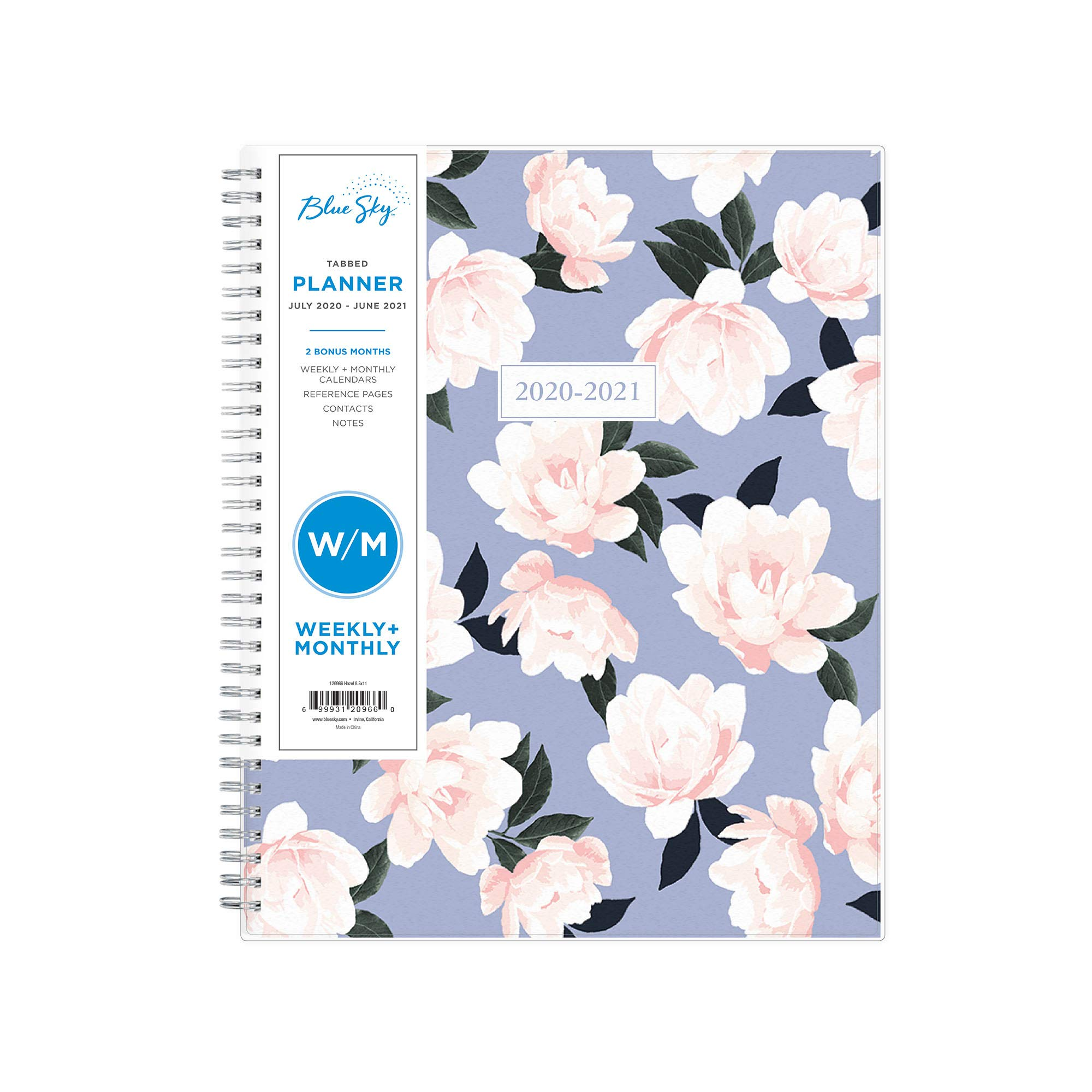 """Blue Sky 2020-2021 Academic Year Weekly & Monthly Planner, Frosted Flexible Cover, Twin-Wire Binding, 8.5"""" x 11"""", Hazel"""