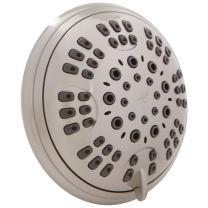 6 Function Adjustable Luxury Shower Head - High Pressure Boosting, Wall Mount, Bathroom Showerhead For Low Flow Showers, 2.5 GPM - Brushed Nickel