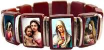 Catholica Shop Madonna Cherry Wood Bracelet | Assorted Color Images of Madonna I Wooden Stretchable Bracelet I Catholic Bracelets for Men and Women I Religious Mens Bracelet